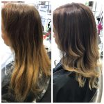 Colour ombre before and after